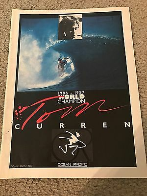 Vintage TOM CURREN SURFING 1986-87 CHAMPION Ocean Pacific Poster Print Ad RARE
