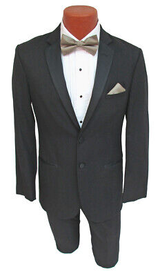 Slim Fit Merino Wool Black Jean Yves Tuxedo w/ Flat Front Pants Wedding Prom Tux