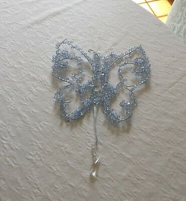 """Pottery Barn Kids Butterfly Decor with Light blue plastic crystal beads 12""""x11"""""""