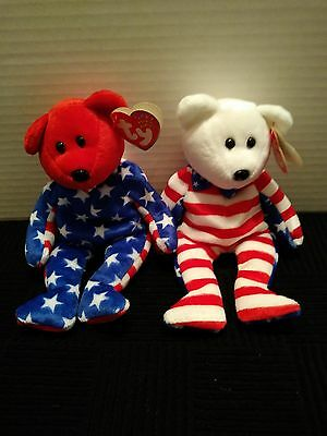 Ty Beanie Babies Liberty Red, White Set Of 2