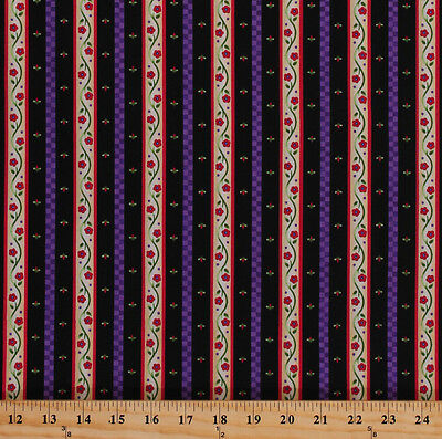 Dutch Floral Stripes Flowers Netherlands Holland Cotton Fabric Print BTY D573.25