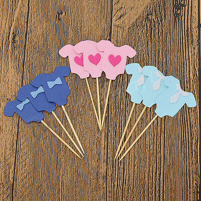 Set of 10 Baby Clothes Cup Cake Toppers Wafer Paper Toppers Baby Shower Birthday