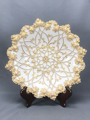 Large Meissen Leaf Mold Serving Bowl Gold Encrusted Floral and Scroll MSS255