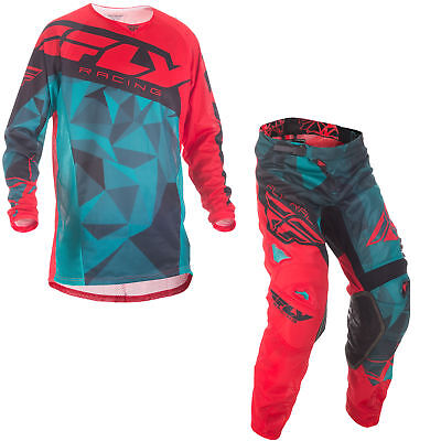 Fly Mens & Youth Teal/Red/Black Kinetic Mesh Crux Dirt Bike Jersey & Pants Kit