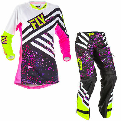 Fly Womens & Youth Neon Pink/Hi-Vis Kinetic Dirt Bike Jersey & OTB Pants Kit