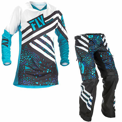 Fly Racing Womens & Youth Blue/Black Kinetic Dirt Bike Jersey & OTB Pants Kit MX