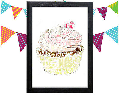 PERSONALISED Cupcake Word Art Wall Print Bake Off Mothers Day Mum Gift Idea