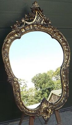 Lovely Decorative Gilt-Framed Wall Mirror In The Antique Rococo Style