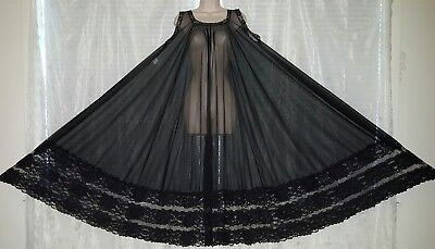 Vtg Black Full Sweep Sheer Chiffon Nightgown Gown Negligee ONE SIZE