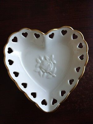 Lenox Ivory Heart Shaped, Heart Cut Out, Gold Trimmed Small Dish With Rose