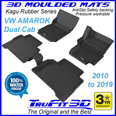 To suit VW Amarok Dual / Twin Cab  2010 - 2018 Black Rubber 3D Car Floor Mats
