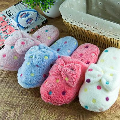 Women Warm Winter Indoor Slippers Bowknot Home Soft Slipper Shoes Cute JJ