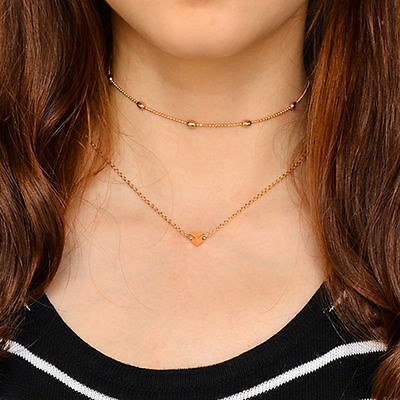 Simple Double layers chain Heart Pendant Necklace Choker Women Jewelry Gift