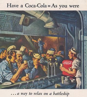 1944 WW II War Era COCA - COLA ADVERTISEMENT Navy Battleship Sailors Coke 10 x 7