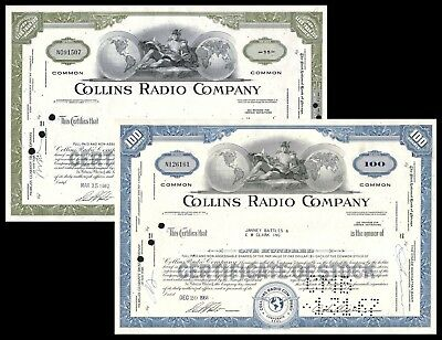 Collins Radio Company 2 Piece Stock Certificate Set Blue and Green Condition F+