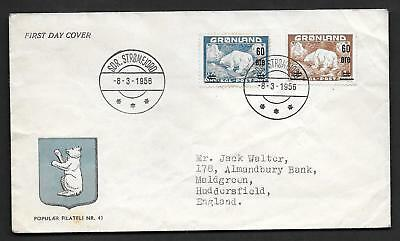 GREENLAND 1956 SURCHARGED SET POLAR BEAR ON FDC Sc, 39-40 Mi. 37-38