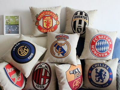 Soccer Home Decor Vintage Linen Cotton Cushion Cover Throw Pillow Case 45x45cm