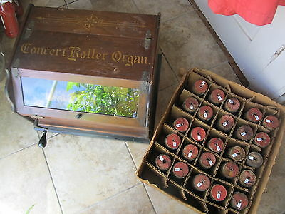 Antique 1908 Autophone Roller Organ, Ithaca  Manufacturing Co., + 26 Cylinders