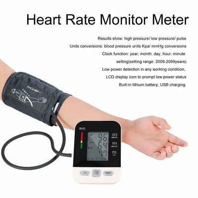 LCD Arm Electronic Blood Pressure Monitor Sphygmomanometer Heart Rate Meter WM