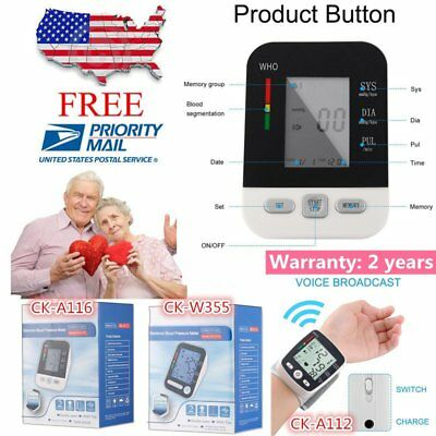 LCD Arm Electronic Blood Pressure Monitor Sphygmomanometer Heart Rate Meter U WM