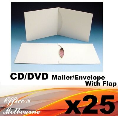 25 x CD DVD Envelope Cardboard Mailer Sleeve Lancing Pack 250GSM with Full Flap