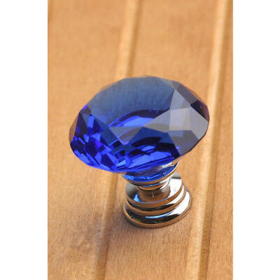 Home 10Pcs 30mm Diamond Crystal Glass Kitchen Cabinet Pull Handle Door Knob Blue