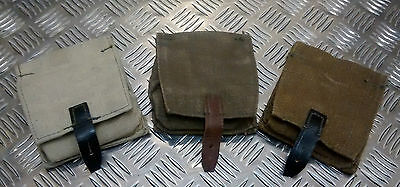 Genuine Russian Army Vintage Canvas Grenade Pouch W Belt Loops Kh/Blk - NEW