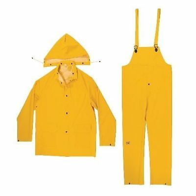 Winter Yellow Rain Wear Jacket Solid Hooded Fisherman Raincoat Overall Suit (L)