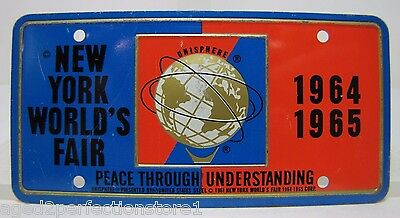 1964-65 New York World's Fair UNISPHERE Bicycle Lic Plate NYWF raised UniSphere