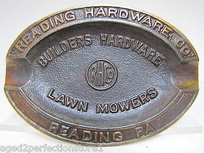 Old Cast Iron Reading Hardware Pa Advertising Tray Lawn Mowers Builders Hardware