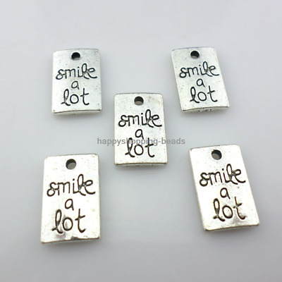 "12/36pcs Tibetan silver ""Smile a lot"" rectangle Charms Pendants Jewelry Making"