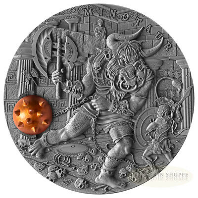 MINOTAUR - ANCIENT MYTHS - 2017 2 oz Pure Silver Coin with Brass Inlay - Niue