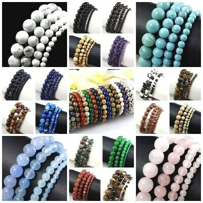 Natural Gemstone Round Bead Bracelet Elastic Bangle wholesale 4mm 6mm 8mm 10mm