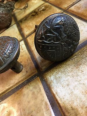 Antique Vintage Heavy Brass Door Set Knobs Ornate Carved Pattern