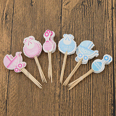Cute Boy Girl Baby Carriage Birthday Cake Topper Baby Shower Xmas Party Decor