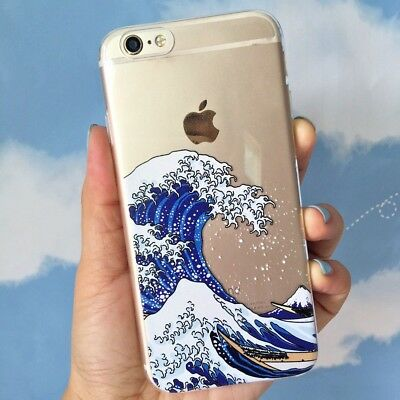 Hokusai The Great Wave off Kanagawa Soft Cover Case  iPhone 5/5s 6/6s 7 8 PLUS X