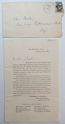 Antique Document / Letter Regarding Subscribers to Assemblies, Masonic Hall 1886