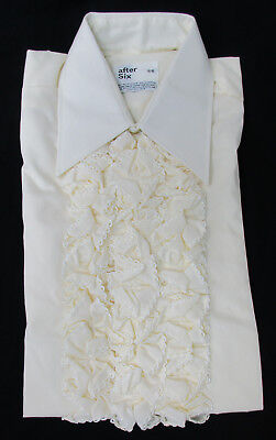 New Vintage Pale Yellow Ruffle Front Tuxedo Shirt 1970's Disco Halloween Costume