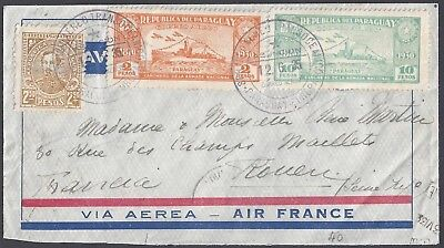 Paraguay 1935 Air Mail Trans Oceanic Cover Air France Franked 1931 39 Air Mail