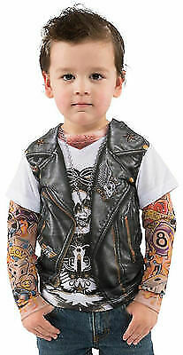 Faux Real Toddler Biker Tattoo Motorcycle Costume Halloween Cute Baby Size 2t-4t