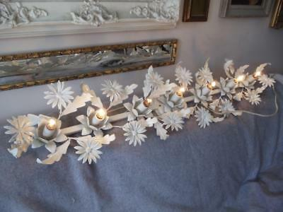 Shabby Vtg Chic Italian Metal Tole Wht Flowers Vanity Bathroom Sconce Wall Lamp