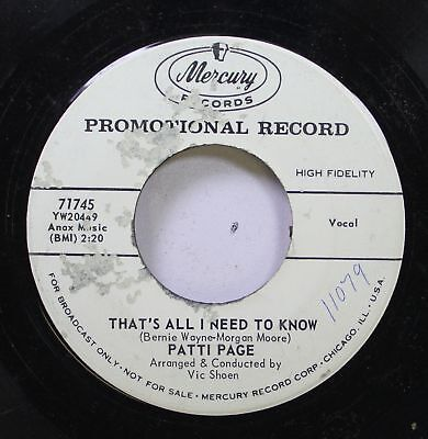 50'S & 60'S 45 Patti Page - That'S All I Need To Know / Don'T Read The Letter On