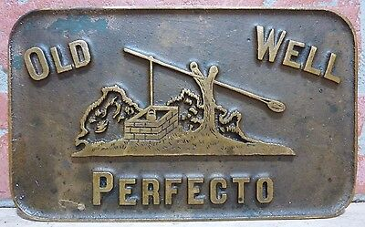 Original Old 'OLD WELL PERFECTO' CIGARS Brass Tray Sign Newspaper Stand Weight