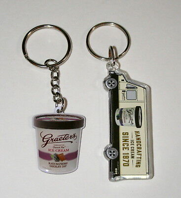 2 Vtg Graeter's Ice Cream Cup & Truck Metal & Acrylic KeyChain 1980s NOS New