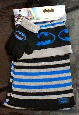 BATMAN WINTER WEAR Pom Pom Hat GLOVES AND SCARF DC COMICS Batman Set TAGGED