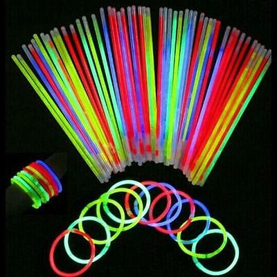 100Pcs Glow Sticks Neon Party Wedding Magic Bracelets Necklaces Fluorescent