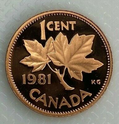 1981 Canada 1 Cent Proof Penny Heavy Cameo Coin