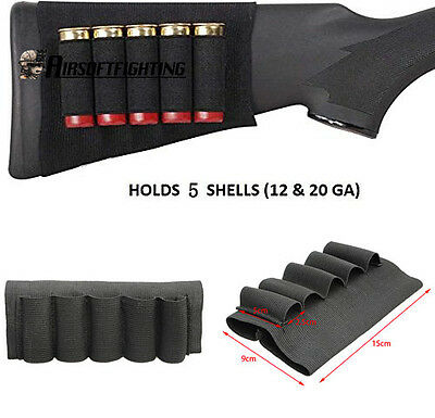 Tactical Stealth 5 Round Shotgun Ammo Buttstock Carrier Holder for 12 20 Gauge