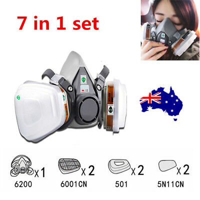 3M 6200 Half Face Dust Gas Mask reusable respirator Painting Spraying Filters ON