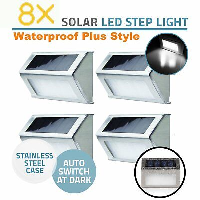 8X Solar Powered Wall Fence Door Stair Step Lights Led Outdoor Lighting